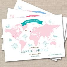 post card invitation 25 x personalised wedding save the date vintage world map post