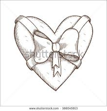 heart bow isolated on white sketch stock vector 166045913
