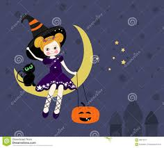 halloween background witch moon lovely witch sitting on the moon at night halloween card vector