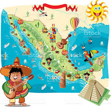 Pyramids In America Map by Cartoon Map Of Mexico Stock Vector Art 484034549 Istock