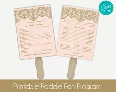 floral paddle fan wedding program template double sided