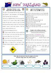 english teaching worksheets new zealand