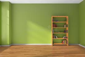 Green Bookcase Empty Green Room Wooden Bookshelf Interior Stock Illustration