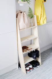 24 Ladder Bookshelf Plans Guide by Diy Ladder Shelf Shoe Storage U2013 Design Sponge