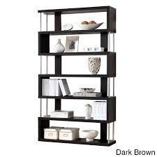 baxton studio javier modern zig zag display shelving high shelf