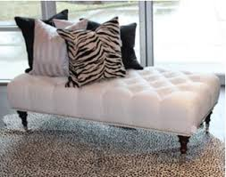Button Tufted Ottoman Custom Button Tufted Ottoman With Chrome Studs And Castors Rug Is