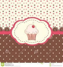 Cherry Cupcake Invitation Card Royalty Cherry Cupcake Polka Dot Background Stock Illustrations U2013 103