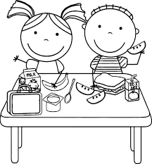 kids eating lunch kids coloring page wecoloringpage