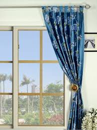 blue blackout embroidered floral tab top dupioni silk curtains