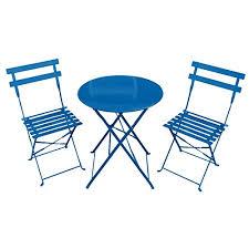 Blue Bistro Chairs 3 Metal Garden Bistro Set Table 2 Chairs Cobalt