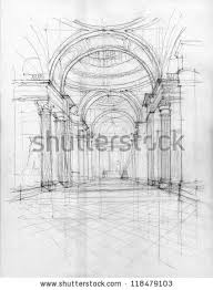 crayon drawing pantheon interior view paris stock illustration