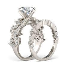 womens wedding ring sets jeulia leaf shape 2 0 ct cut created white sapphire wedding