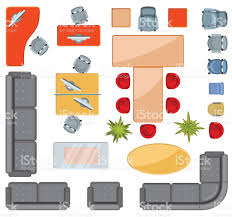top view interior furniture icons flat vector icons stock vector computer monitor floor plan furniture map plan