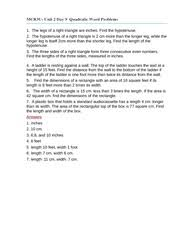 Quadratic Word Problems Worksheet With Answers Unit 2 Day 9 Quadratic Word Problems Worksheet Mcr3u 1 The Legs
