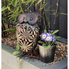 patio decorations metal owl with flower pot garden ornament outdoor