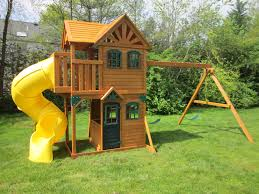 outdoor u0026 garden design chic cedar summit playset made of wood