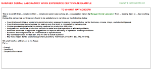 Lab Experience Resume Manager Dental Laboratory Work Experience Certificate