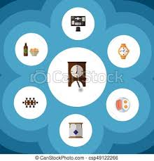 icon bureau flat icon lifestyle set of bureau with chips clock clip