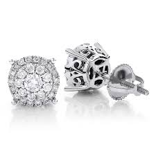 diamond earring studs diamond stud earrings 14k gold 0 76ct pave cluster design