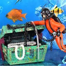 discount treasure diver figure fish tank ornament