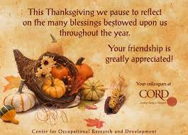 thanksgiving greetings from your friends at cord
