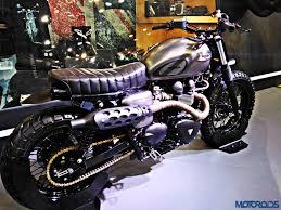 triumph motocross bike auto expo 2016 triumph bonneville scrambler by rajputana custom