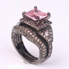 black and pink wedding ring sets 2016 black ring sets hot black gun color zircon pink purple
