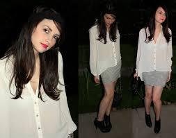 blouse band di enescu pull stripy mini skirt primark sheer blouse