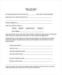 sample car bill of sale forms 9 free documents in pdf