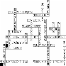 thanksgiving crossword puzzle deluxe activity solution