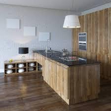 violet kitchen in new interior with wooden floor and white walls