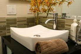 Simple Bathroom Vanity Glass Tile Backsplash Beautiful Spa Like - Bathroom vanity backsplash ideas