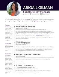 social media resume abigail gilman social media manager resume