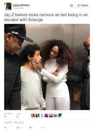 Beyonce And Jay Z Meme - hilarious memes created from an elevator photo of solange her son