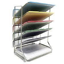 Desk Letter Organizer Seville Classics 6 Tray Iron Mesh Office Vertical