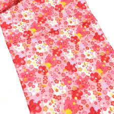 tenugui japanese floral fabric wrapping cloth pink colorful