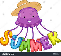 illustration jellyfish spelling out word summer stock vector
