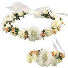 flower band coxeer flower crown wedding hair wreath floral headband garland