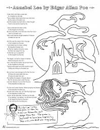 coloring page poems annabel lee
