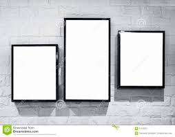 Picture Frame Wall by Mock Up Blank Banner With Black Frame On White Brick Wall Stock