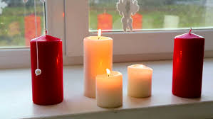 candles in the window colored paraffin candles