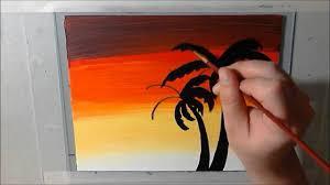 palm tree sunset acrylic art timelapse speed painting youtube