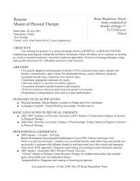 Resume College Degree Physical Therapy Aide Resume With No Experience Free Resume