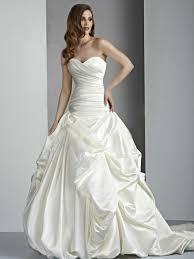 strapless satin wedding dress features sweetheart neckline pick up