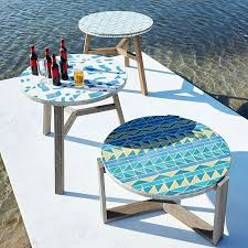 Tile Bistro Table The Mosaic Tiled Bistro Table Two Tone Geo West Elm Pertaining To