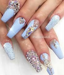 baby blue rhinestone nails aztec nails pinterest rhinestone