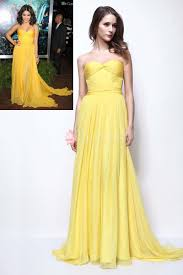 yellow dress casual yellow chiffon strapless prom dress