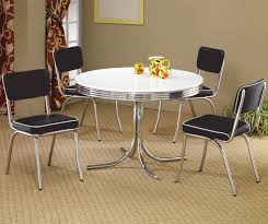 Round Dining Sets Coaster Cleveland Round Chrome Plated Dining Table Coaster Fine