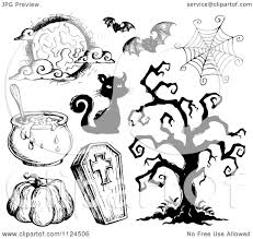 clipart of sketched black and white halloween items 2 royalty