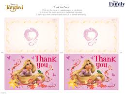 tangled thank you cards disney family
